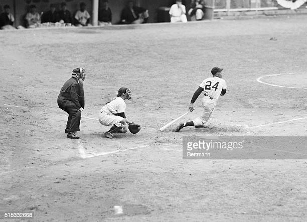 Willie Mays the 20 year old Negro centerfielder of the NY Giants is shown in his second appearance at the plate in the World Series against the...