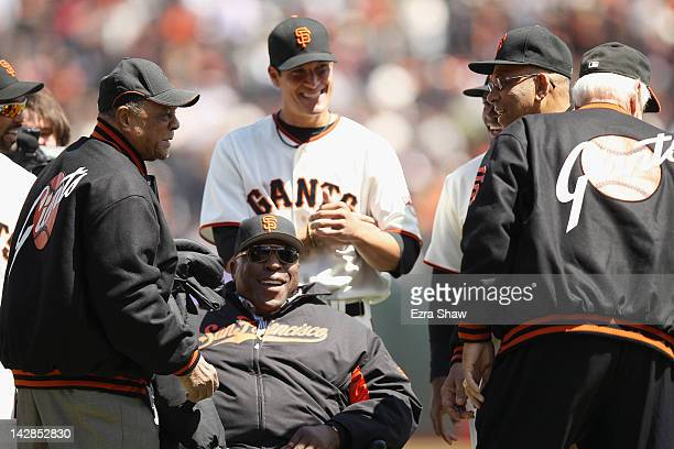 Willie Mays Willie McCovey and Orlando Cepeda all members of the 1962 San Francisco Giants talk to one another during a pregame ceremony before their...