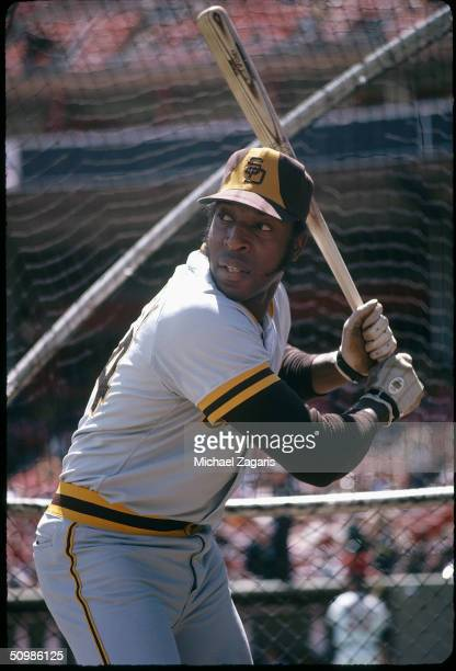 Willie McCovey of the San Diego Padres prepares to swing in 1974