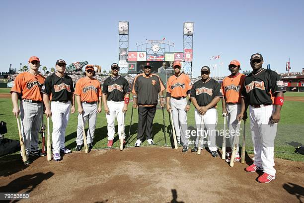Willie McCovey poses with Home Run Derby participants before the Home Run Derby at ATT Park in San Francisco California on July 9 2007