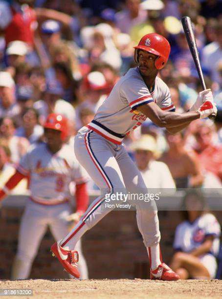 Willie McGee of the St Louis Cardinals bats during an MLB game versus the Chicago Cubs at Wrigley Field in Chicago Illinois during the 1988 season