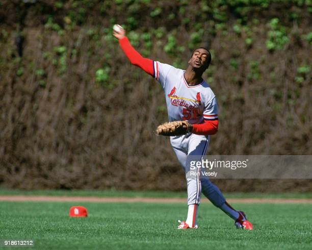 Willie McGee of the St Louis Cardinals throws the baseball from the outfield during an MLB game versus the Chicago Cubs at Wrigley Field in Chicago...
