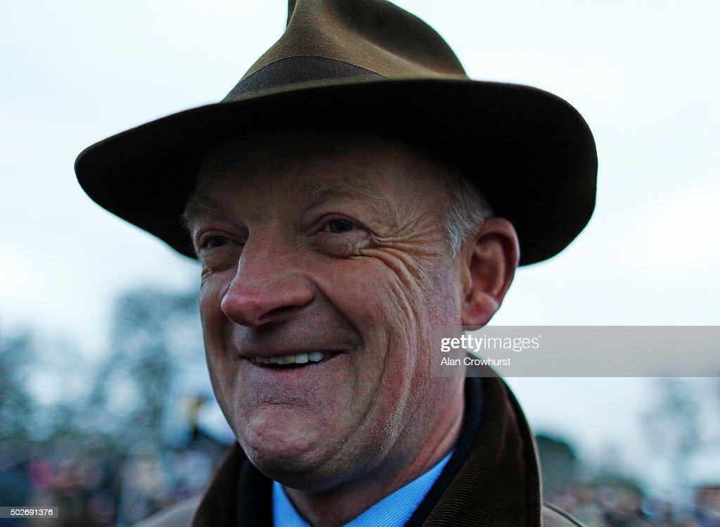 Willie Mullins smiles after winning The Lexus Steeplechase at Leopardstown racecourse on December 28, 2015 in Dublin, Ireland.