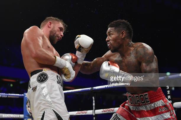 Willie Munroe Jr in boxing action with Billy Joe Saunders during the WBO World Middleweight Title fight at Copper Box Arena on September 16 2017 in...