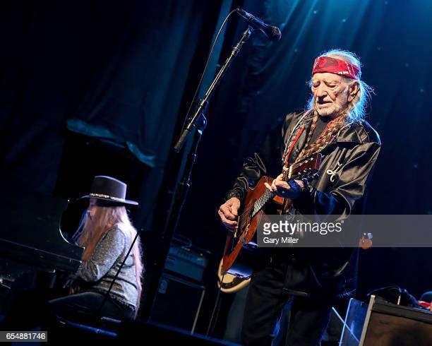 Willie Nelson and Bobbie Nelson perform in concert during the Luck Reunion at Luck Texas on March 16 2017 in Spicewood Texas