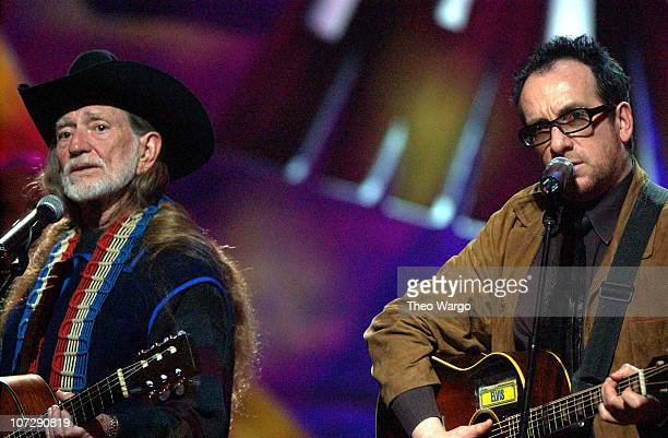 Willie Nelson and Elvis Costello during Willie Nelson and Friends Live and Kickin' Premiers on USA Network on May 26 2003 Rehearsal and Backstage at...