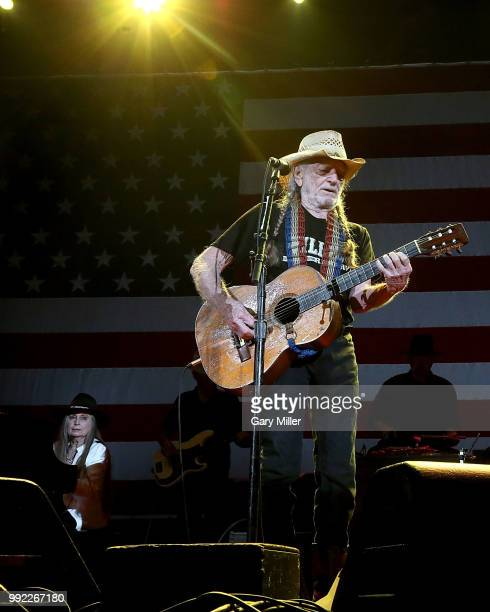 Willie Nelson and his sister Bobbie Nelson perform in concert at Willie Nelson's 45th 4th Of July Picnic at the Austin360 Amphitheater on July 4 2018...