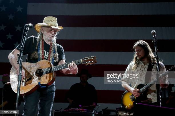 Willie Nelson and his son Lukas Nelson perform in concert at Willie Nelson's 45th 4th Of July Picnic at the Austin360 Amphitheater on July 4 2018 in...