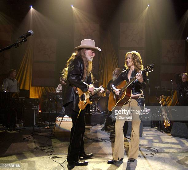 Willie Nelson and Sheryl Crow during Sheryl Crow And Willie Nelson Perform on CMT's Crossroads at Sony Pictures Studios in Los Angeles California...