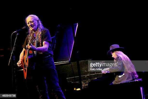 Willie Nelson and sister Bobbie Nelson perform in concert on New Years Eve at ACL Live on December 31 2014 in Austin Texas