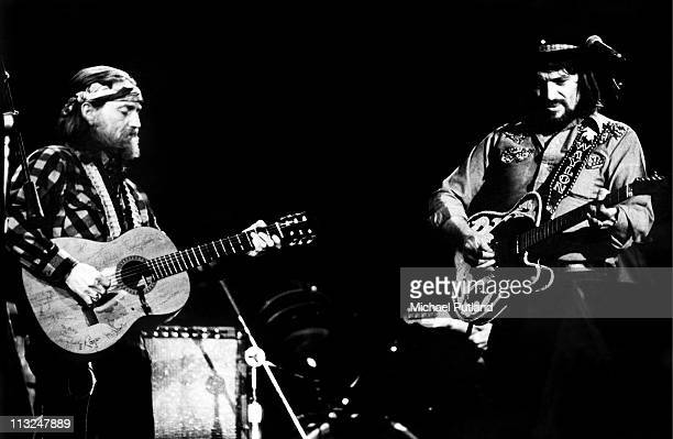 Willie Nelson and Waylon Jennings perform on stage together New York April 1978