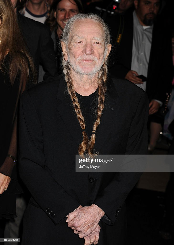Willie Nelson arrives at Global Green USA's 10th Annual Pre-Oscar party at Avalon on February 20, 2013 in Hollywood, California.