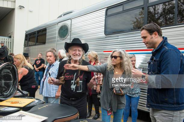 Willie Nelson backstage with his wife Annie D'Angelo before Farm Aid at the XFINITY Theatre in Hartford Connecticut on September 22 2018