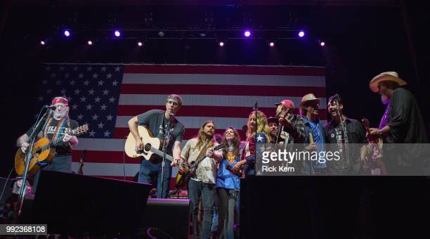 Willie Nelson Beto O'Rourke Lukas Nelson Amy Nelson Margo Price Micah Nelson and Ray Benson perform onstage with Willie Nelson and Family during the...