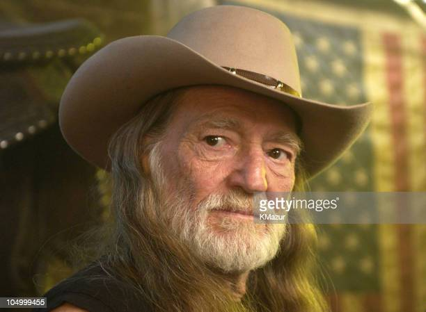 Willie Nelson during Willie Nelson on the Set of His Video for the Song Maria/ShutUp and Kiss Me at Red Rock West Saloon in New York City New York...