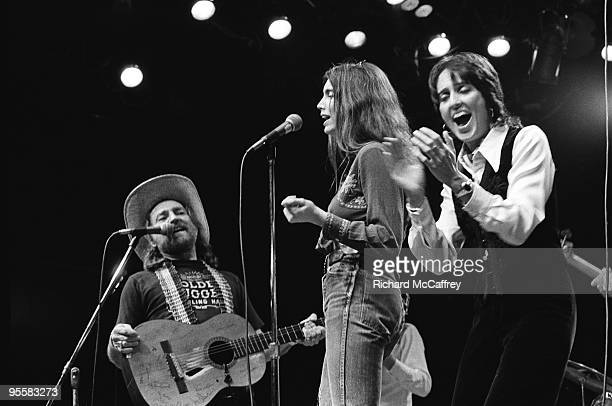 Willie Nelson Emmylou Harris and Joan Baez perform live at The Circle Star Theatre in 1974 in Palo Alto California