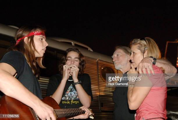 Willie Nelson his wife Annie Nelson and sons during FARM AID 2005 Presented by SILK Soymilk at Tweeter Center in Tinley Park Illinois United States