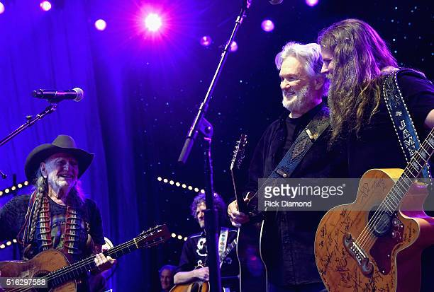 Willie Nelson Kris Kristofferson and Jamey Johnson perform at The Life Songs of Kris Kristofferson produced by Blackbird Presents at Bridgestone...