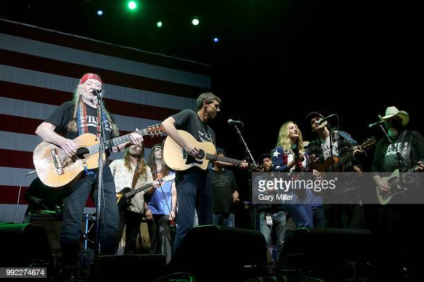 Willie Nelson Lukas Nelson Amy Nelson Beto O'Rourke Margo Price Micah Nelson and Ray Benson perform in concert at Willie Nelson's 45th 4th Of July...