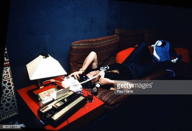 Willie Nelson on the phone in his hotel room June 18 1980 in Caesars Palace Las Vegas Nevada
