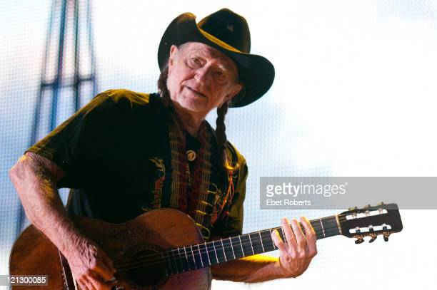 Willie Nelson performing at the Farm Aid Concert at LiveStrong Sporting Park on August 13 2011 in Kansas City Kansas