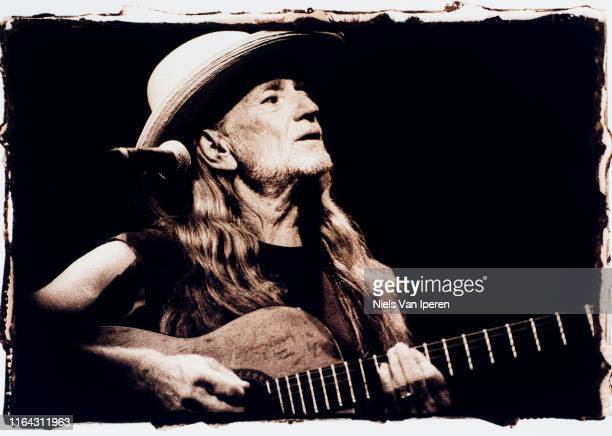 Willie Nelson, performing on stage, Paradiso, Amsterdam, Netherlands, 23rd April 1996.