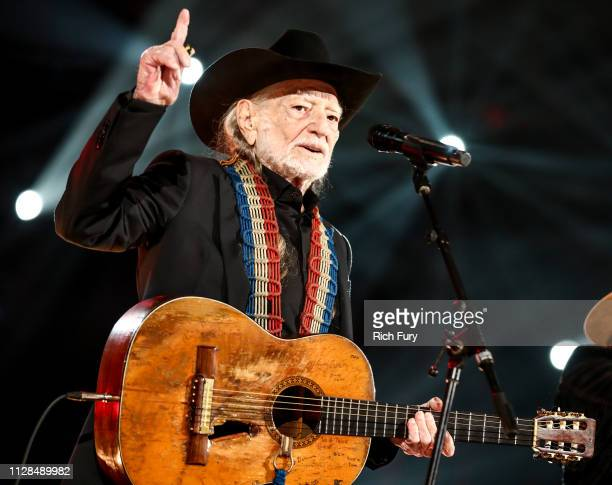 Willie Nelson performs at MusiCares Person of the Year honoring Dolly Parton at Los Angeles Convention Center on February 08 2019 in Los Angeles...