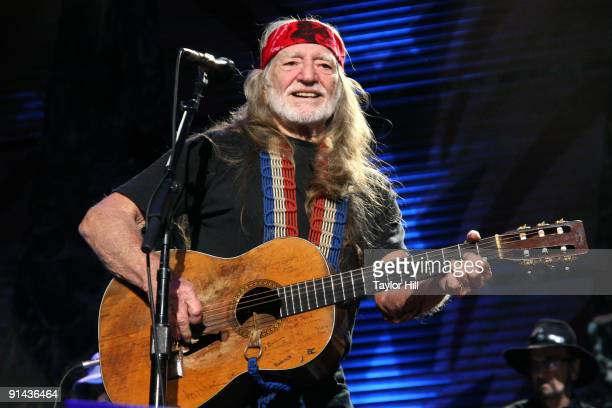 Willie Nelson performs during Farm Aid 2009 at the Verizon Wireless Amphitheater on October 4 2009 in St Louis Missouri