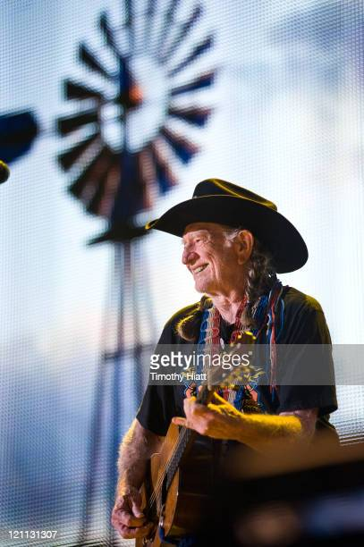 Willie Nelson performs during Farm Aid 2011 at the LiveStrong Sporting Park on August 13 2011 in Kansas City Kansas