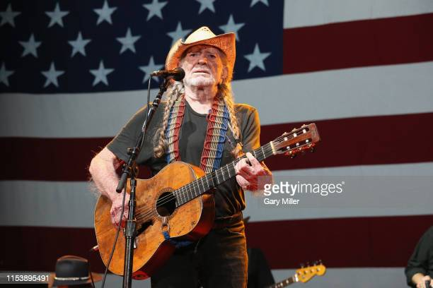 Willie Nelson performs in concert during his 46th annual Willie Nelson's 4th of July Picnic at Austin360 Amphitheater on July 4, 2019 in Austin,...