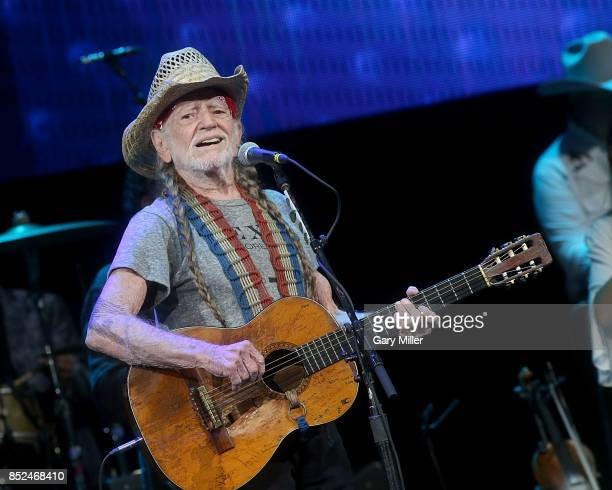 Willie Nelson performs in concert during the Texas Strong Hurricane Harvey Can't Mess With Texas benefit at The Frank Erwin Center on September 22...
