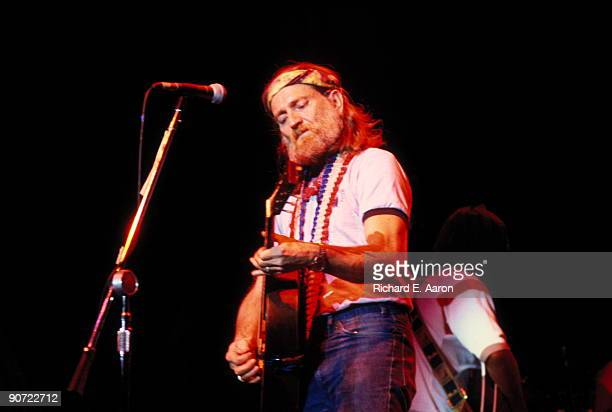 Willie Nelson performs live on stage in New York in January 1977