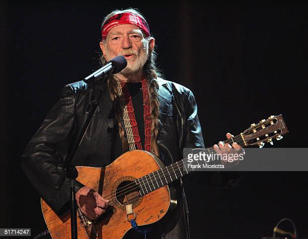Willie Nelson performs on stage at the 38th Annual CMA Awards at the Grand Ole Opry House November 9 2004 in Nashville Tennessee