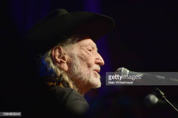 Willie Nelson performs onstage during the Producers & Engineers Wing 12th annual GRAMMY week event honoring Willie Nelson at Village Studios on...