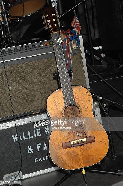 NEW YORK SEPTEMBER 09 Willie Nelson's Guitar Backstage at Farm Aid 2007 AT ICAHN Stadium on Randall's Island NY September 92007