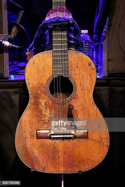 Willie Nelson's guitar Trigger sits on stage before the New Years Eve concert at ACL Live on December 31 2016 in Austin Texas