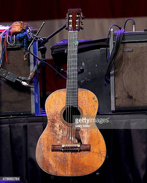 Willie Nelson's Martin N20 'Trigger' sits on stage during Willie Nelson's 42nd Annual 4th of July Picnic at Austin360 Amphitheater on July 4 2015 in...