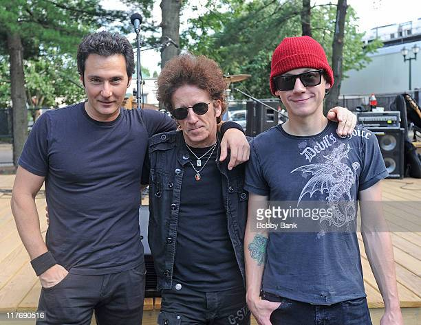 Willie Nile, Ty Smith and Johnny Pisano performs in the Willie Nile Band in Parker Press Park on June 29, 2011 in Woodbridge, New Jersey.