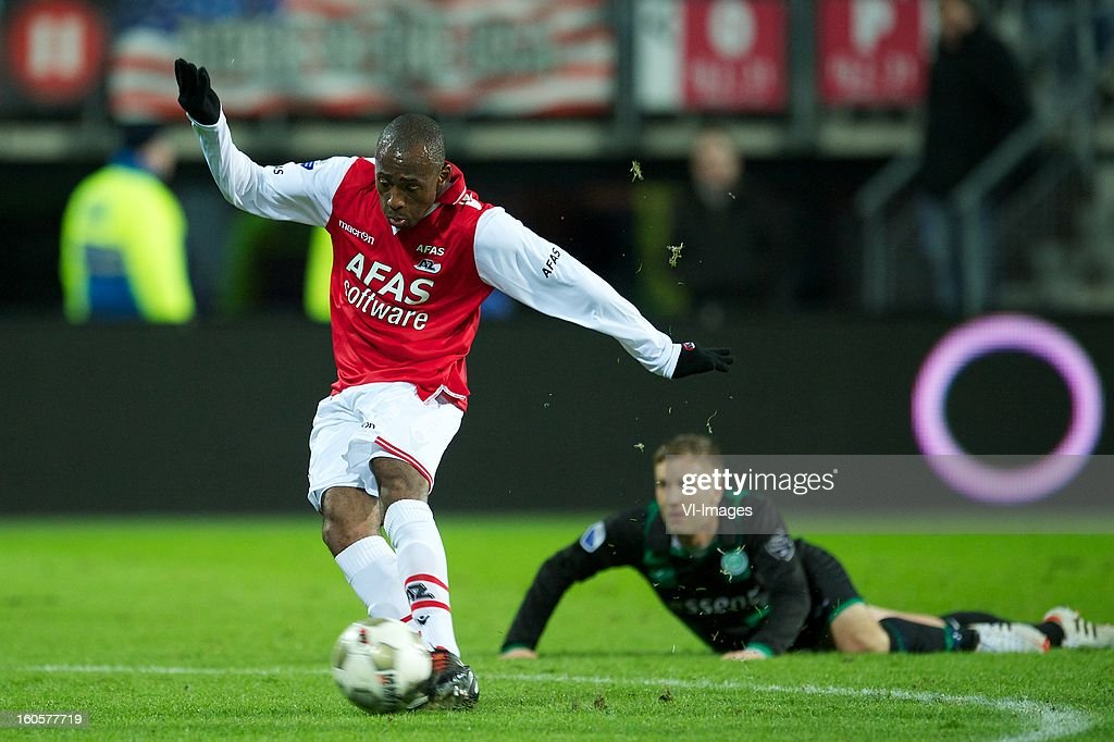 Willie Overtoom of AZ, Rasmus Lindgren of FC Groningen during the Dutch Eredivisie match between AZ Alkmaar and FC Groningen at the AFAS Stadium on february 2, 2013 in Alkmaar, The Netherlands