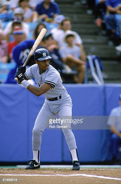 Willie Randolph of the New York Yankees stands at bat during the game against the Toronto Blue Jays in 1988 at Exhibition Stadium in the Toronto...