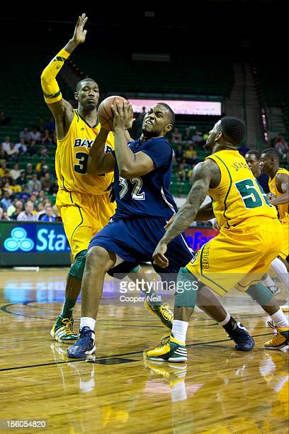 Willie Readus of the Jackson State University Tigers drives the ball against Cory Jefferson of the Baylor University Bears on November 11 2012 at the...