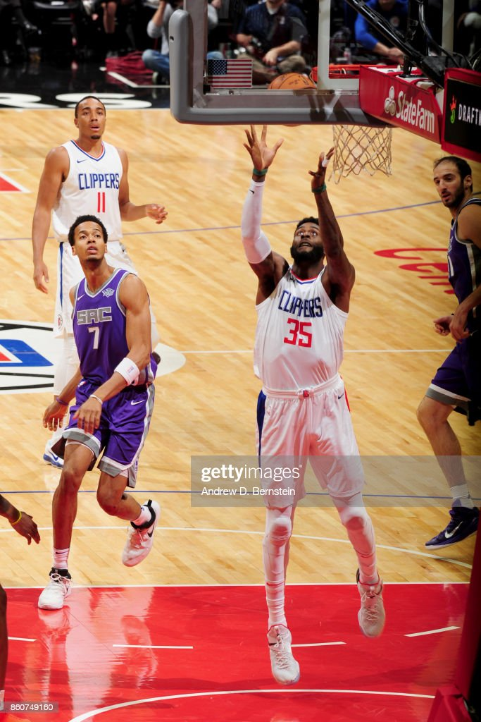 Willie Reed #35 of the LA Clippers grabs the rebound against the Sacramento Kings on October 12, 2017 at STAPLES Center in Los Angeles, California.