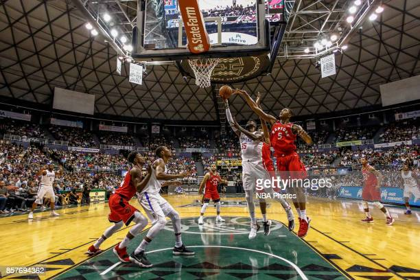 Willie Reed of the LA Clippers shoots the ball during the preseason game against the Toronto Raptors on October 4. 2017 at the Stan Sheriff Center in...