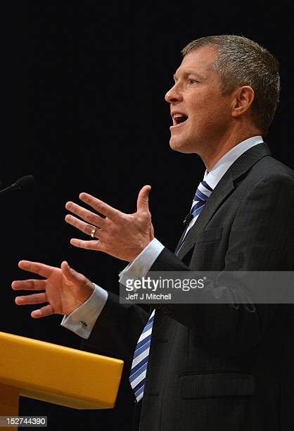 Willie Rennie Member of the Scottish Parliament speaks during the fourth day of the Liberal Demcorat party conference on September 25 2012 in...