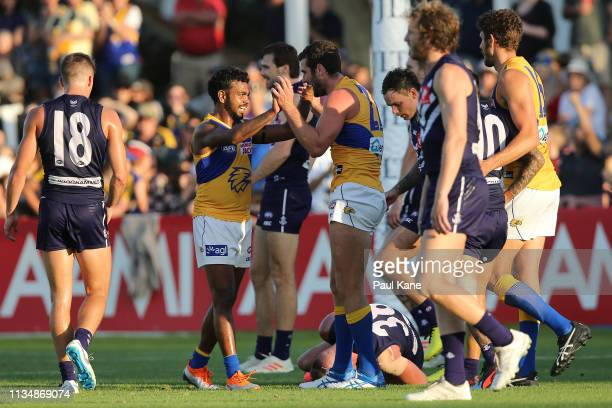 Willie Rioli and Jack Darling of the Eagles celebrate a goal during the 2019 JLT Community Series AFL match between the Fremantle Dockers and the...