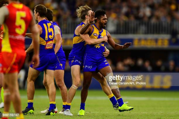 Willie Rioli of the Eagles celebrates a goal during the 2018 AFL Round 04 match between the West Coast Eagles and the Gold Coast Suns at Optus...