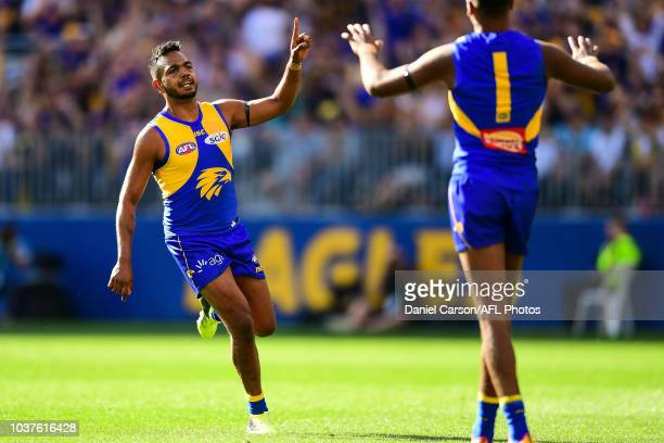Willie Rioli of the Eagles celebrates a goal during the 2018 AFL Second Preliminary Final match between the West Coast Eagles and the Melbourne...