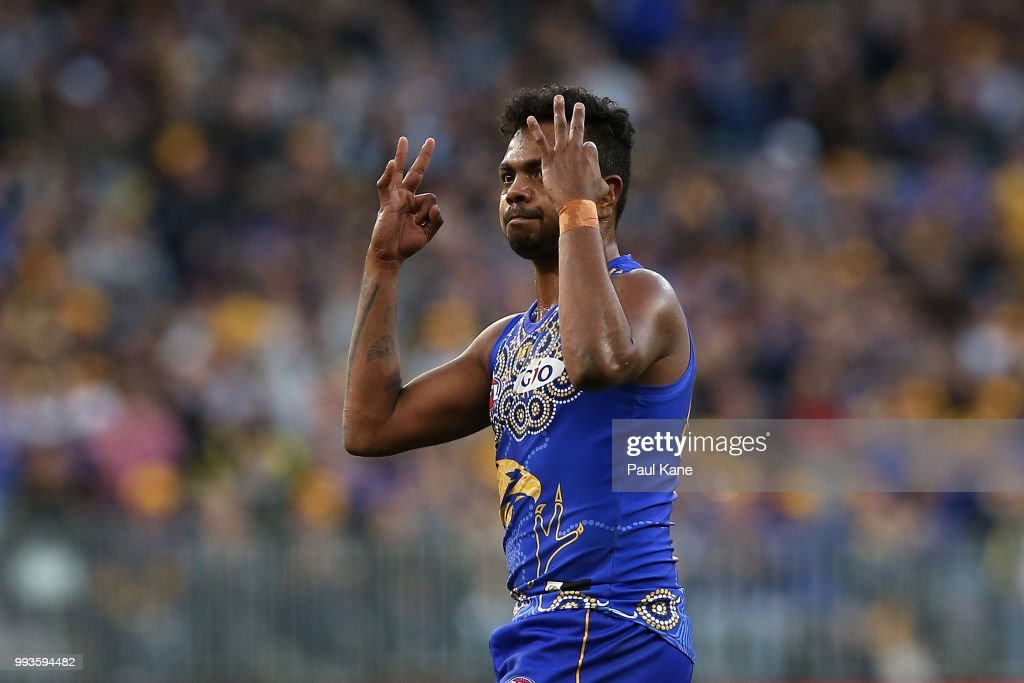 Willie Rioli of the Eagles celebrates a goal during the round 16 AFL match between the West Coast Eagles and the Greater Western Sydney Giants at Optus Stadium on July 8, 2018 in Perth, Australia.