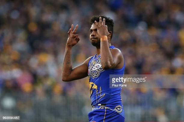 Willie Rioli of the Eagles celebrates a goal during the round 16 AFL match between the West Coast Eagles and the Greater Western Sydney Giants at...