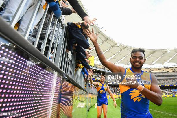Willie Rioli of the Eagles celebrates with the fans during the 2018 AFL round 18 match between the West Coast Eagles and the Western Bulldogs at...